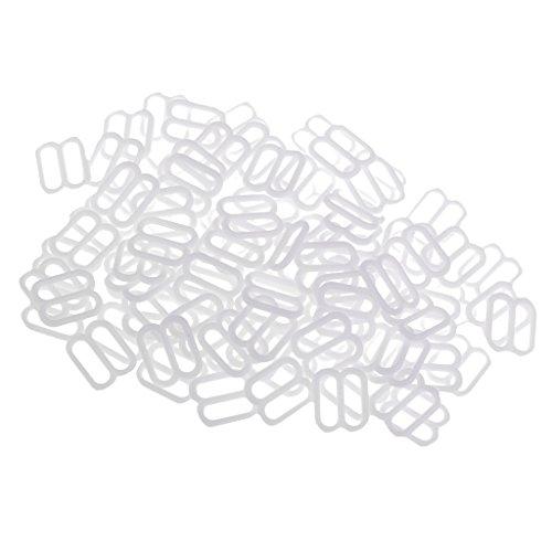 P Prettyia 100 Stück Bikini Verschluß Dessous Nähen BH Ringe Schnallen Schieberegler - Weiß, 10 mm