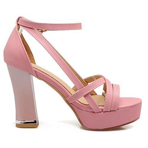 COOLCEPT Damen Mode Knochelriemchen Sandalen Peep Toe Plateau Blockabsatz Schuhe Rosa