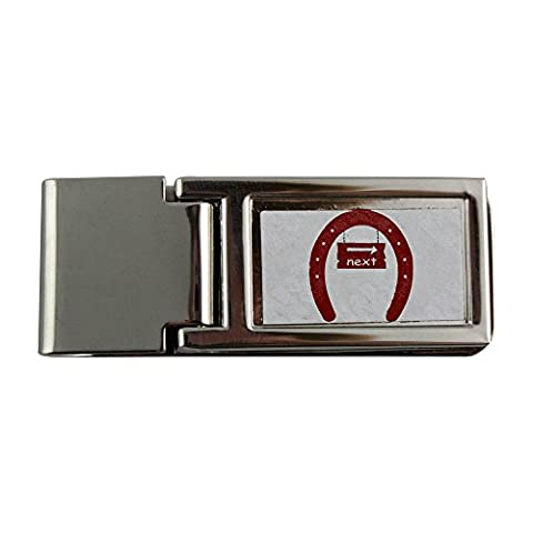 Metal money clip with The image of a signboard with the word next in a horseshoe . I used OCAL clipart called Fer A Cheval uploaded by jdaniel . Thanks.