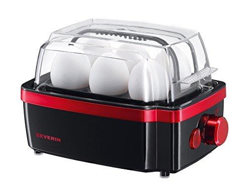 SEVERIN Eierkocher, Inkl. Wasser-Messbecher mit Eierstecher, 6 Eier, 3 Härtestufen, EK 3156, Schwarz/Rot