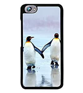 Penguins on Beach 2D Hard Polycarbonate Designer Back Case Cover for Micromax Canvas Fire 4 A107