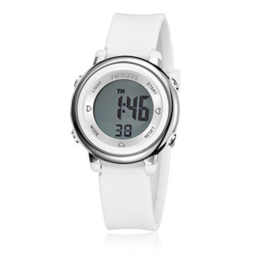 PIXNOR Chicas de múltiples funciones resistente al agua luz de fondo pantalla cuarzo reloj deportivo OHSEN niños mujeres (blanco)