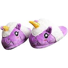 800dd17839543 Casa Femme Peluche Pantoufle Licorne Chaussons Rigolo Adulte Unicorn Hiver  Coton Chaussons 3D Chaussures,cadeaux
