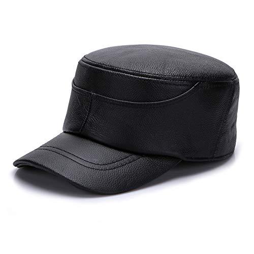 XIANV Erwachsene Unisex wasserdichte Baseball Cap Leder Peak Hat Outdoor Warmer,Schwarz,XXXL