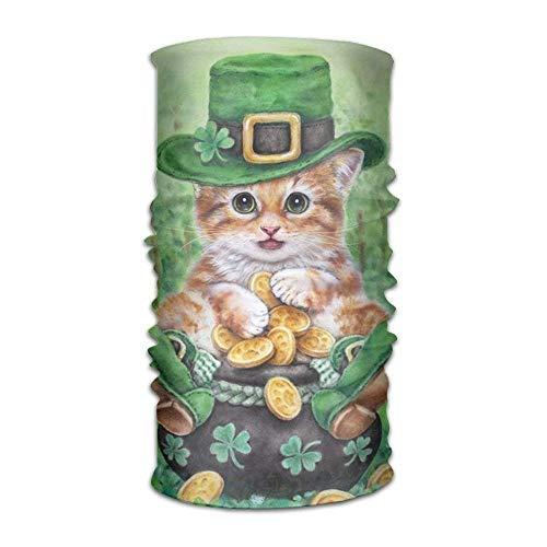 Happy St. Patrick's Day Cat Headwear For Men And Women-Yoga Sports Travel Workout Wide Headbands,Neck Gaiter,Bandana,Helmet Liner,Balaclava