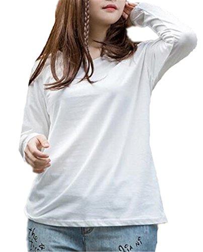 AILIENT Donna T Shirt A Manica Lunga Elegante V-collo Maglie Colore Puro Allentato Taglie Forti Blouses Slim Casuale Blusa Tops White