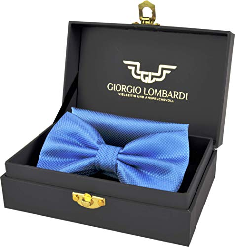Giorgio Lombardi Herren Fliege Luxus bow tie mit passendem Einstecktuch - Fertig gebunden und verstellbar - Fliegen Set in edler Geschenkbox - Gold Bow Tie