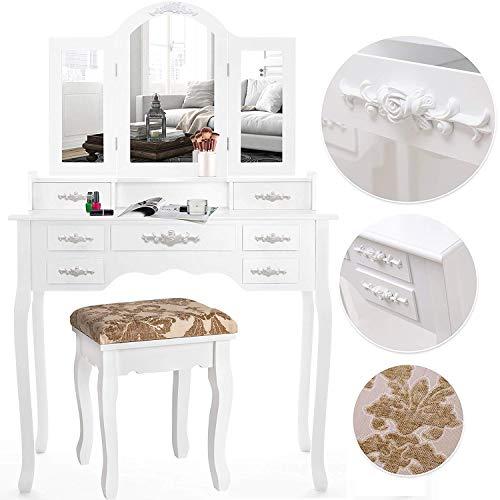 Kesser® Schminktisch luxuriös Weiß Kosmetiktisch Frisierkommode Spiegel Schubladen Hocker | Schminkspiegel | Frisiertisch Rosen | Farbe: Weiß