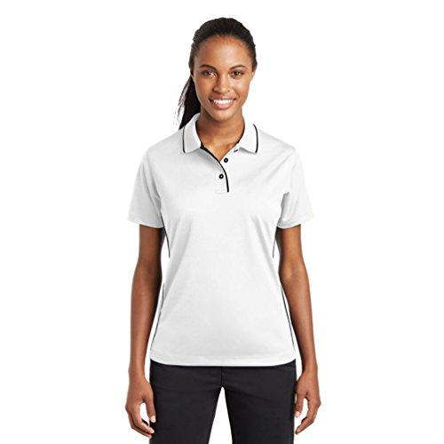 sport-tek Damen Dri Mesh Polo mit Kragen & Paspelierung Gr. XXXL, weiß / schwarz