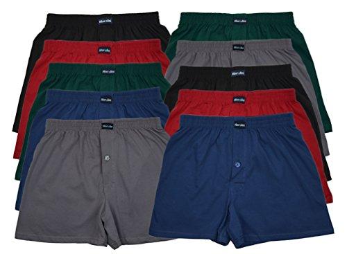 10 Boxershorts in klassischen Grundfarben - locker & weiche Unterhose mit und ohne Eingriff!! 100% Baumwolle 10er Sparpack Größe: S M L XL 2XL 3XL 4XL