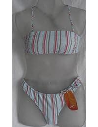 Speedo Bikini Smart Stripe Bandeau Gr. 40 hellblau grün/pink/braun Streifen