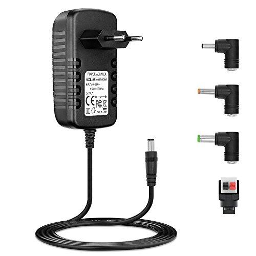 BERLS 12V 3A Alimentation Adaptateur, AC 100-240V 36W Cordon Chargeur Transformateurs, 2.1mm X 5.5mm avec 4 Connecteurs pour Rubans LED, LCD TFT Monitors, DVD, TV, Caméra, Routeur, Haut-Parleur