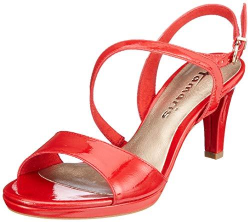 Tamaris 1-1-28319-22, Sandali con Cinturino alla Caviglia Donna, Rosso (Chili Patent 520), 37 EU