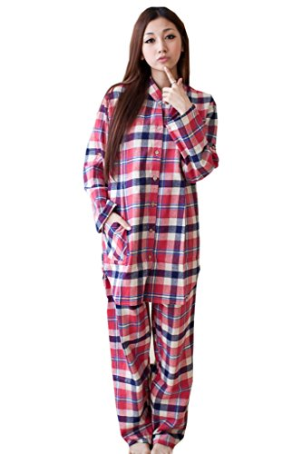 bearsland femmes de l'allaitement et soins d'hiver de pyjama à manches longues Motif carreaux - GRAYWHITERED