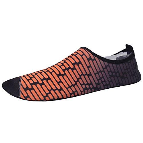 SUNAVY Unisex Barfuß Wasser Strandschuhe Aquaschuhe Breathable Schlüpfen Schnell Trocknend Schwimmschuhe Surfschuhe Yogaschuhe Fitnessschuhe (EU 34—EU 43) Orange