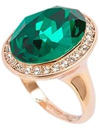 Swarovski Elemente, 18K Rose Gold Smaragd-Ring gemacht mit Stellux österreichischen Kristall