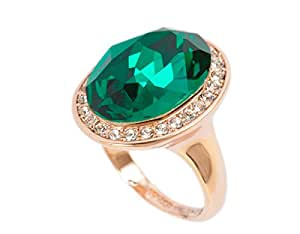 Emerald STELLUX Austrian Crystal Fashion Ring 18K Rose Gold Plated, perfect girt for her -M