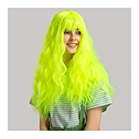 Ombre Body Wave Synthetic Wigs GLAMADOR Fashion Fluorescent Green Cosplay Curly Wig,Heat Resistant Women Long Halloween Fancy Dress Party Wigs,Bangs Wavy Synthetic Wigs with Free Wig Cap 26