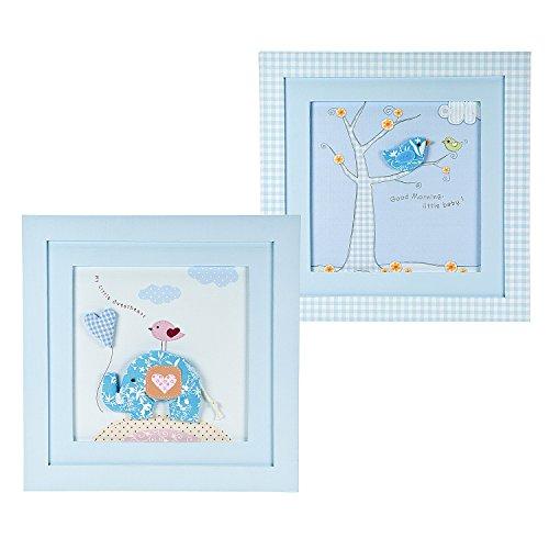 Set blau mit handgefertigten Gerahmte Bilder Wand-Bild und Motiven für Baby Junge Babyzimmer Kinderzimmer