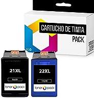 2 TONERPACK® 21 XL 22 XL Cartuchos de Tinta Compatible HP 21XL 22XL para impresoras Deskjet F4180 F2180 F2280