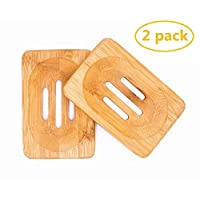 Fittolly 2 Packs Natural Wooden Bamboo Soap Dish Storage Holder Soap Holder for Bathroom Shower Soap Dish