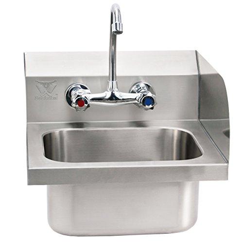 Beeketal \'HWB-II\' Industrie Handwaschbecken aus Edelstahl mit Spritzschutz Aufkantung, Waschbecken zur Wandmontage mit Wasserhahn Mischbatterie, Siphon und Abwasserschlauch, inkl. Wandhalterungen