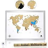 havalime Premium XXL Rubbel Weltkarte, Scratch World Map, Limited Edition, Geschenkidee für Reisende, 82 x 59 cm (Weiß)