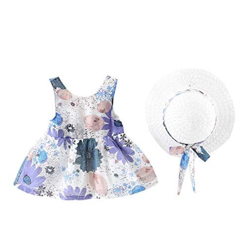 CuteRose Little Girls Bow Backless Sleeveless Cotton Infant Hat Gifts Dresses Light Blue 90