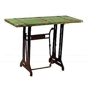 Consola KAB pie de máquina de coser antigüa color verde con adornos de latón