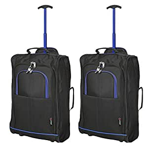 Set of 2 Super Lightweight Cabin Approved Luggage Travel Wheely Suitcase Wheeled Bags Bag (2 x Black/Blue)