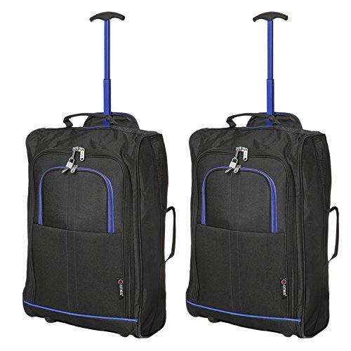 5 Cities 5 Cities Leichtgewicht Handgepäck Kabinentrolley Rollkoffer Gepäck Reisetasche Bordgepäck mit Rädern für Easyjet, Ryanair, British Airways, Jet 2 und viele mehr 55x35x20cm 42L (Schwarz/Blau)