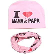 Reefa I Love Mama&Papa Baby Kid Girls Boys Winter Crochet Knitted Beanie Scarf Set,Infant Toddler Cotton Cap Scarf Sets