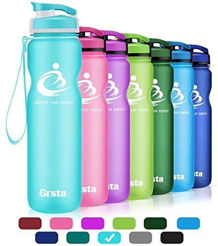 Grsta Sport Trinkflasche 32oz-1000ml - Wasserflasche Auslaufsicher, Eco Friendly BPA Frei Tritan Kunststoff Flaschen mit Frucht Filter, Sporttrinkflasche für Kinder, Gym, Camping, Büro (Hellblau) (Kunststoff-obst-anzeige)