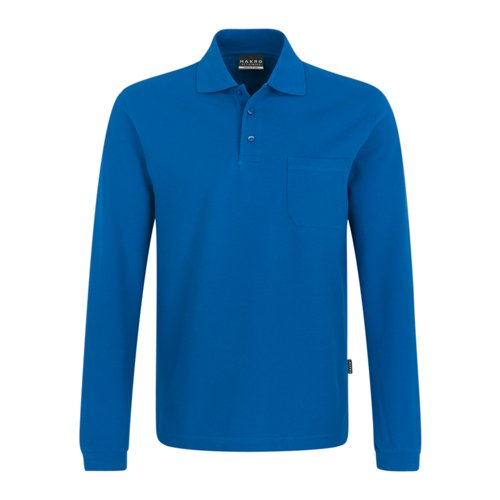 HAKRO Pocket Polo-Langarmshirt/Melange, L, Royal -