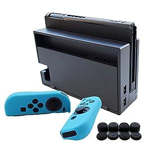 Hikfly 3in1 Ultradünne PC Hülle (Transparent Schwarz) für Nintendo Switch Console & Silikon Hüllen (Schwarz) für Joy-Con Controller mit 8er Thumb Grips Super Slim Hülle Geeignet für angedockten TV-Modus