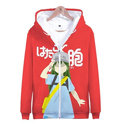 BchYu Unisex Anime Cosplay Sudadera con Capucha Hombre Impresión 3D Pullover Personalidad Hoodie Sweatshirt de Mangas Largas Bolsillos Cells at Work! Zipper XL
