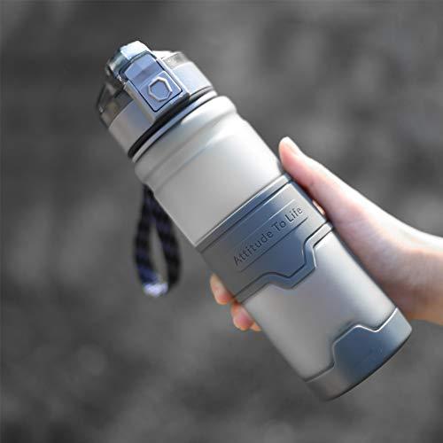 ZZXXBB Wasserflasche Bewegung Tasse, Wiederverwendbar Einfache Kunststoff Körper Große Kapazität Frosted-weiß 22x6.7cm(9x3inch) -