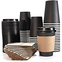 Disposable Paper Coffee Cups With Lids and Sleeves 12 Ounce 360 Milliliter 50 Pack Tea Hot Beverages and Cold Drinks Insulated Take Away Leak Proof Office Wedding Holiday Party Recyclable Friendly