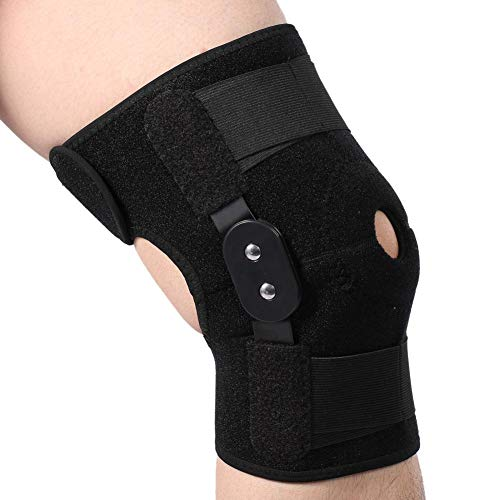 Filfeel Kniebandage, Knieschoner atmungsaktiver Kniestütze Verstellbarer Winkel Knieschützer Wrap-Unterstützung für Bein- oder Knieverletzung, Bänderriss und Sport(Schwarz)