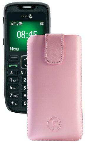 Original Favory Etui Tasche für / Doro PhoneEasy 508 / Leder Etui Handytasche Ledertasche Schutzhülle Case Hülle Lasche mit Rückzugfunktion* in Rosa