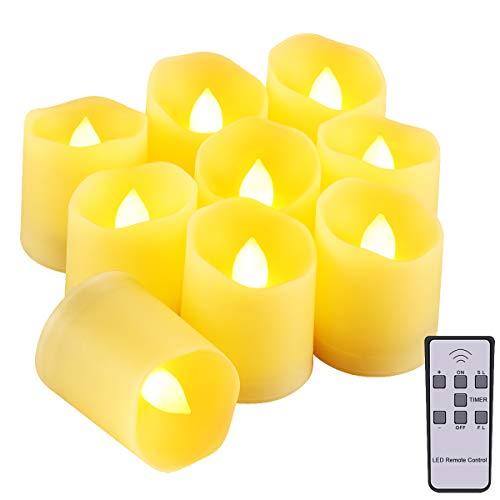 ORIA LED Kerzen mit Timerfunktion, 9 Flammenlose Kerzen Elektrische Teelichter mit Fernbedienun, Batterie & 3 Modi, Romantische Kerzen Teelicht für Weihnachten, Hochzeit, Partys, usw