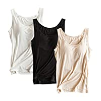 Women Tank Top Built-in Bra Camisole Padded Cami Top Bras Top, XXL(black, white, apricot)