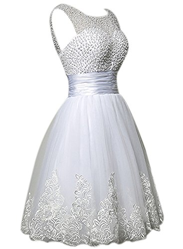 Azbro Women's Elegant Bead Tulle Solid Short Cocktail Dress white