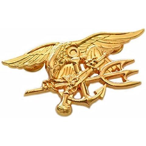 3.9. Navy Seals Special Warfare forze speciali distintivo in metallo emblema replica oro - Seal Staffa