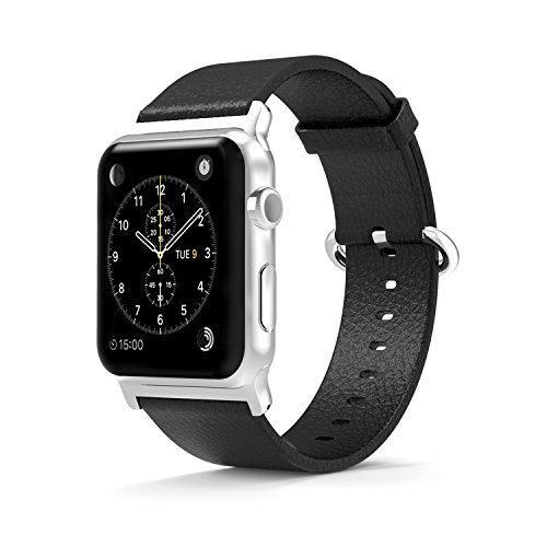 Armband für Apple Watch 38mm, ONEDAY Doppelseitig Echtleder Apple Watch Armband mit 12 Präzisionsschneidbohrung, Edelstahl Smart Armbänder für Apple Watch, Series 3/2/1, Nike+, Edition, Rot