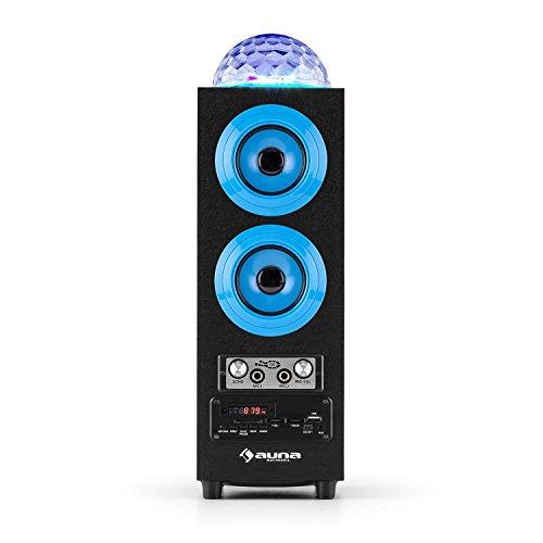 auna DiscoStar Blue • 2.1 Bluetooth-Lautsprecher • Radio • UKW-Radiotuner • 30 Speicherplätze • MP3 • SD • USB • Mini-USB • AUX • Mikrofon • LED-Lichteffekt • Akku • tragbar • blau - 4