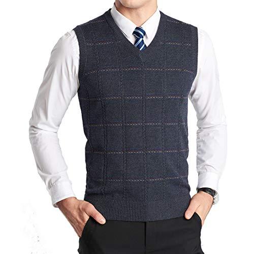 YinQ Invierno sin angas con Cuello en V Chaleco Prendas de Punto de Punto Chaleco suéter Caballero para Hombre M Comprobado_carbón