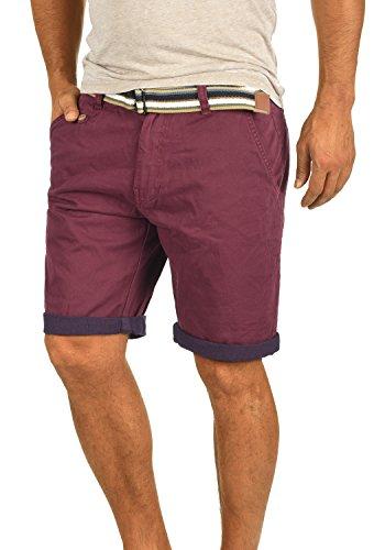 INDICODE Castro Herren Chino-Shorts kurze Hose mit Gürtel aus 100% Baumwolle Wine (227)
