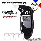 O³ Ethylotest Electronique Homologue | Ethylotest Portable Alcootest Numérique LCD| Capteur Semi-conducteur avec 4 Embouts