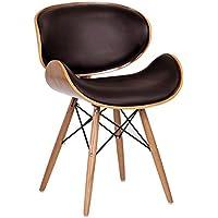Retro Style - Chaise de bureau DSW simili cuir noir / patte de bois noyer